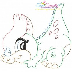 Vintage Stitch Baby Dinosaur-10 Embroidery Design