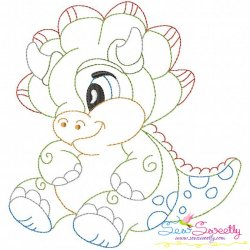 Vintage Stitch Baby Dinosaur-6 Embroidery Design