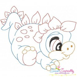 Vintage Stitch Baby Dinosaur-5 Embroidery Design