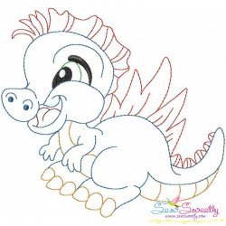 Vintage Stitch Baby Dinosaur-4 Embroidery Design