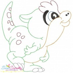 Vintage Stitch Baby Dinosaur-3 Embroidery Design