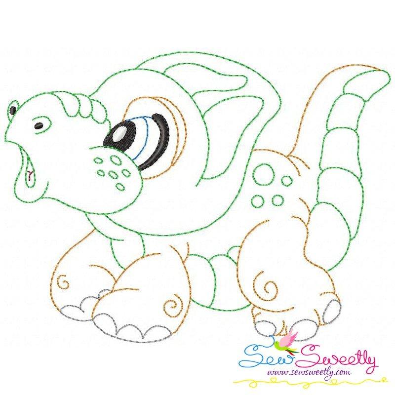Vintage Stitch Baby Dinosaur 2 Machine Embroidery Design