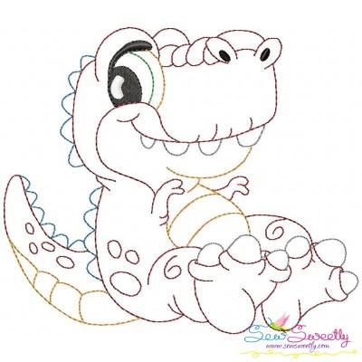 Vintage Stitch Baby Dinosaur-1 Embroidery Design