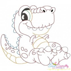 Vintage Stitch Baby Dinosaur-1 Embroidery Design