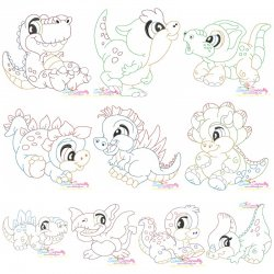 Vintage Stitch Baby Dinosaurs Embroidery Design Bundle