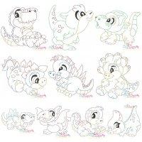 Vintage Stitch Baby Dinosaurs Embroidery Design Bundle