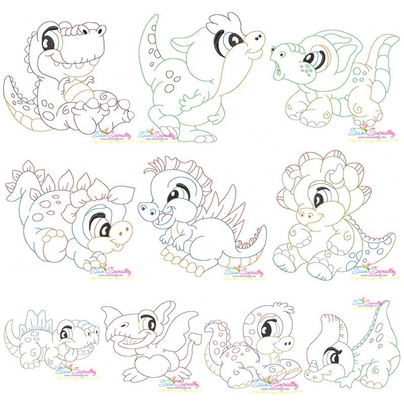 Vintage stitch baby dinosaurs embroidery design bundle for