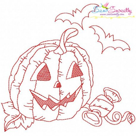 Redwork Halloween Pumpkin-10 Embroidery Design
