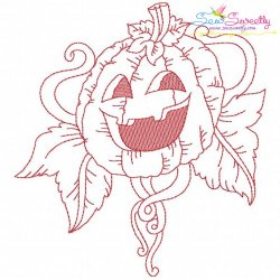 Redwork Halloween Pumpkin-9 Embroidery Design