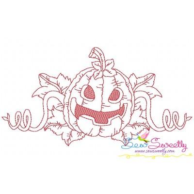 Redwork Halloween Pumpkin-8 Embroidery Design