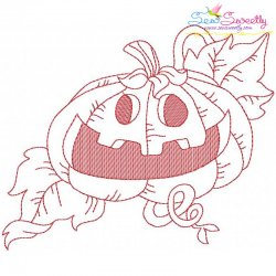 Redwork Halloween Pumpkin-7 Embroidery Design