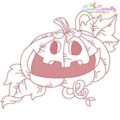 Redwork Halloween Pumpkin-7 Embroidery Design
