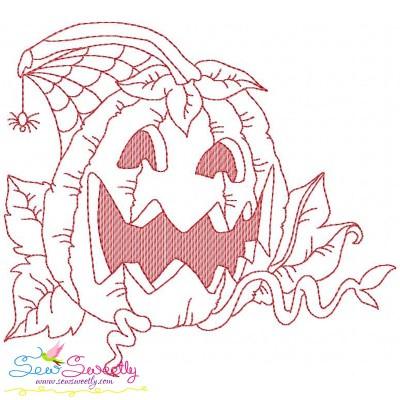 Redwork Halloween Pumpkin-6 Embroidery Design