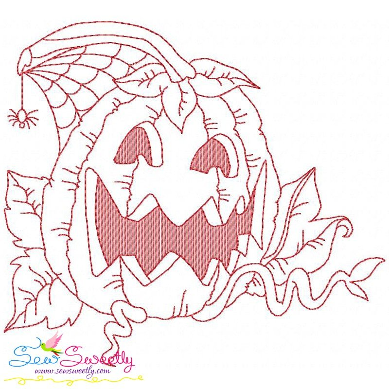 Redwork Halloween Pumpkin 6 Machine Embroidery Design For
