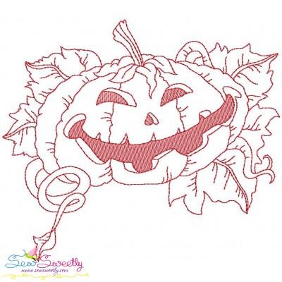Redwork Halloween Pumpkin-5 Embroidery Design