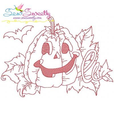 Redwork Halloween Pumpkin-3 Embroidery Design