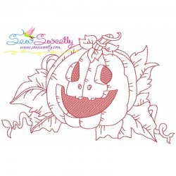Redwork Halloween Pumpkin-2 Embroidery Design