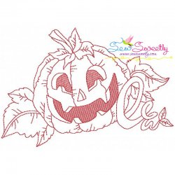 Redwork Halloween Pumpkin-1 Embroidery Design