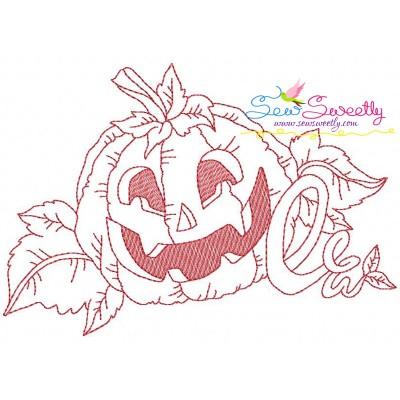Redwork Halloween Pumpkin-1 Embroidery Design