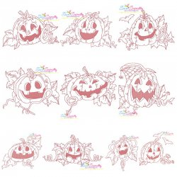 Redwork Halloween Pumpkins Embroidery Design Bundle