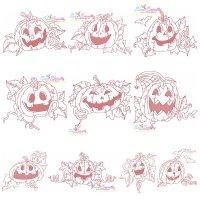 Redwork Halloween Pumpkins Embroidery Design Bundle