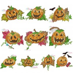 Halloween Pumpkins Embroidery Design Bundle