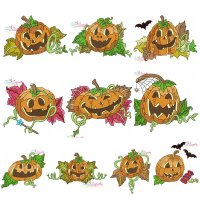 Halloween Pumpkins Embroidery Design Bundle