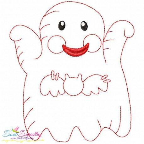 Vintage Stitch Little Ghost 9 Machine Embroidery Design For Halloween