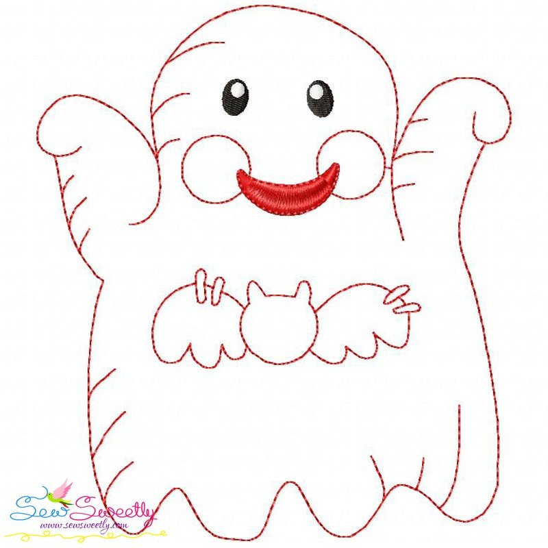 Vintage stitch little ghost machine embroidery design