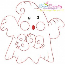 Vintage Stitch Little Ghost-8 Embroidery Design