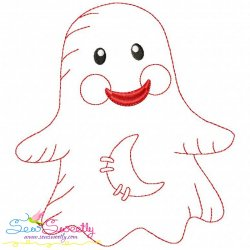 Vintage Stitch Little Ghost-1 Embroidery Design