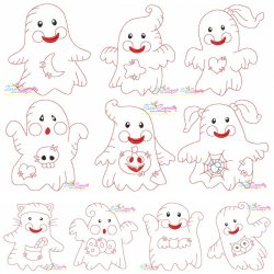 Vintage Stitch Little Ghosts Embroidery Design Bundle