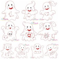 Vintage Stitch Little Ghosts Embroidery Design Bundle