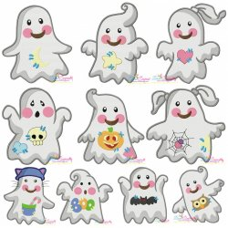 Little Ghosts Filled Stitch Embroidery Design Bundle
