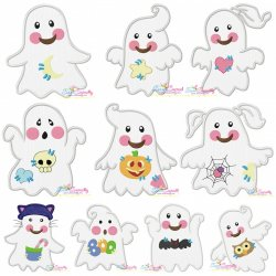 Little Ghosts Applique Embroidery Design Bundle