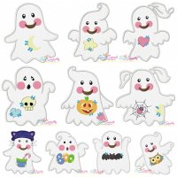 Little Ghosts Applique Embroidery Design Bundle