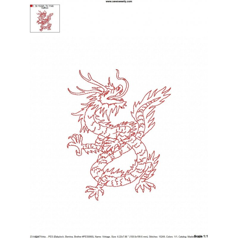 Vintage stitch chinese dragon machine embroidery design