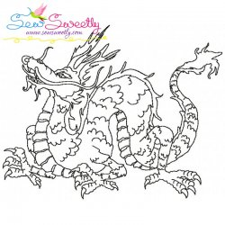 Vintage Stitch Chinese Dragon-3 Embroidery Design
