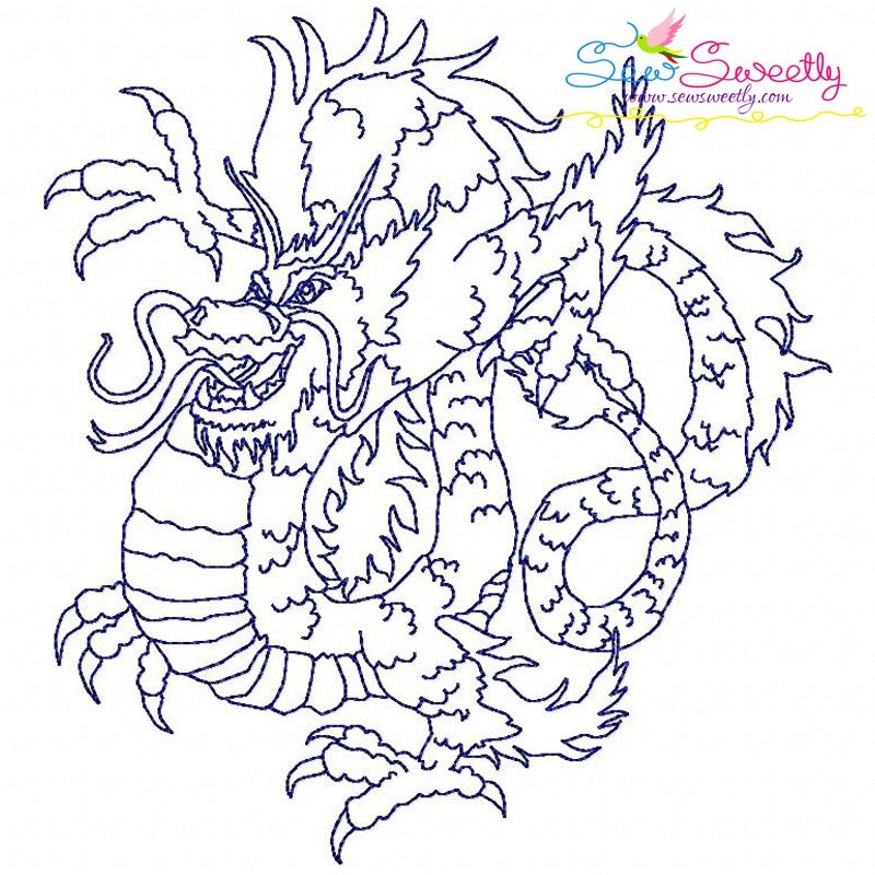 Redwork vintage stitch chinese dragons embroidery design