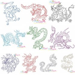 Vintage Stitch Chinese Dragons Embroidery Design Bundle