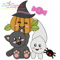 Halloween Friends-5 Embroidery Design