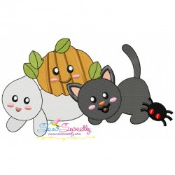 Halloween Friends-3 Embroidery Design