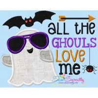 All The Ghouls Love Me Lettering Applique Design