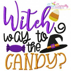 Witch Way To Candy Lettering Embroidery Design