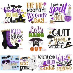 Halloween Lettering Embroidery Design Bundle