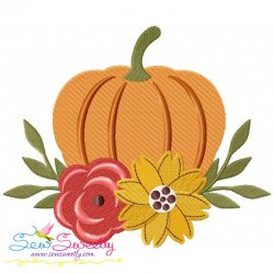 Floral Pumpkin Embroidery Design