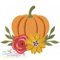 Floral Pumpkin Embroidery Design