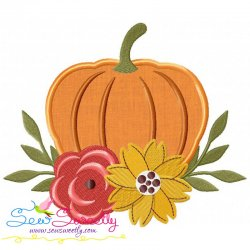 Floral Pumpkin Applique Design