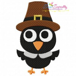Crow Pilgrim Embroidery Design