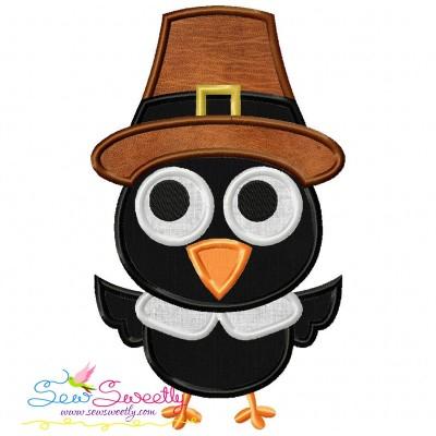 Crow Pilgrim Applique Design